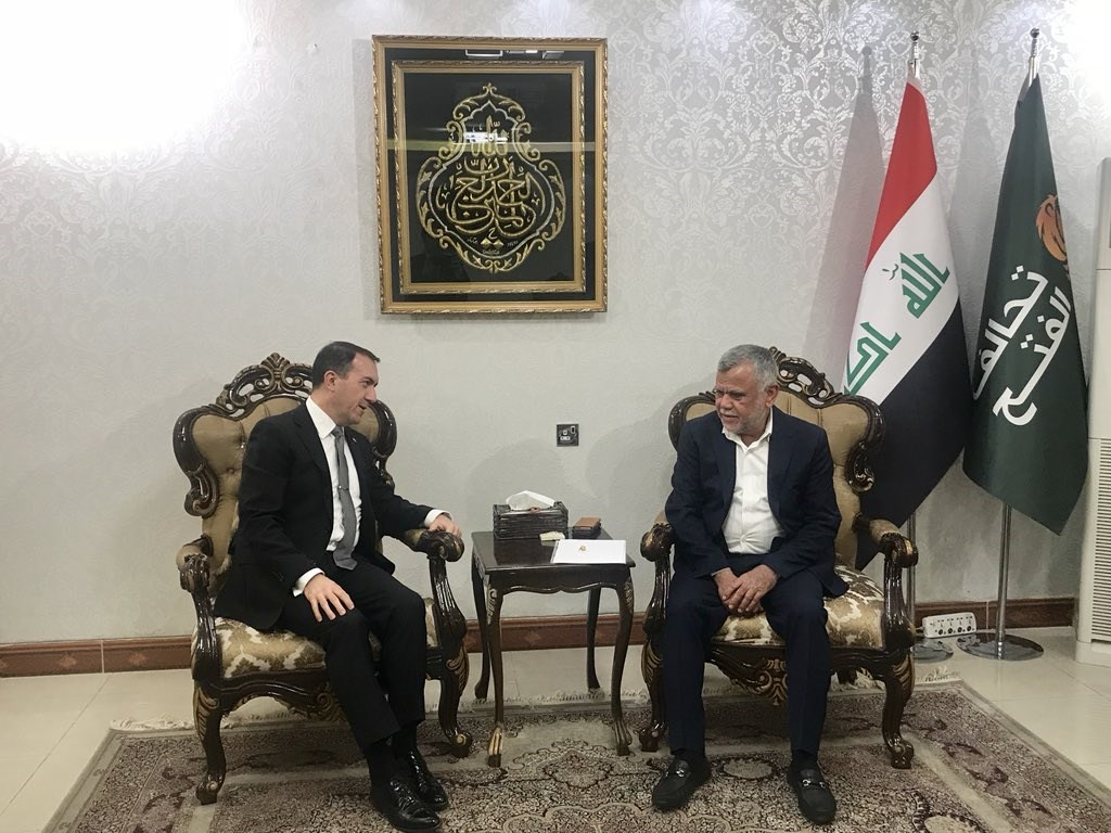 Fatih Yildiz, Turkey's ambassador to Iraq, meets with Hadi al-Amiri in Baghdad on June 10, 2018. Photo: Yildiz Twitter