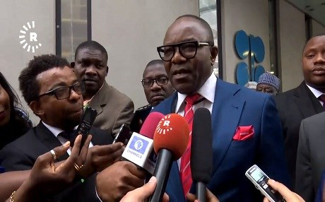 Nigeria's Minister of State for Petroleum Emmanuel Ibe Kachikwu answers a question for Rudaw on the sidelines of the OPEC conference in Vienna, Austria, on June 22, 2018.