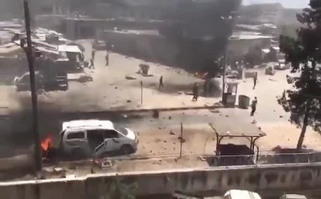 At least two explosions rocked downtown Afrin on Wednesday.