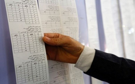 An Iraqi electoral commission official examines electronic counting machine print-outs in Najaf on May 13, 2018. Photo: Haidar Hamdani | AFP