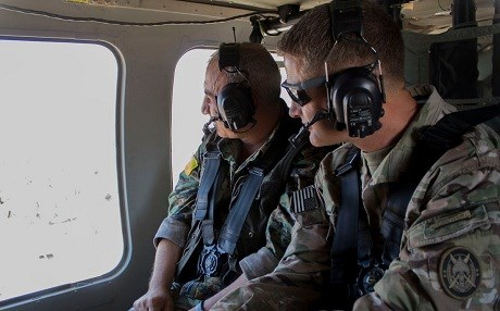 SDF's Gen. Chiya and coalition's Maj. Gen. Jamie Jarrard review anti-ISIS operations in the Euphrates River Valley in this photo published July 13. Photo: Inherent Resolve/Twitter