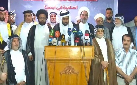 The coordination board for peaceful protests and demonstrations in Basra give a press conference, July 16, 2018. Photo: Rudaw video