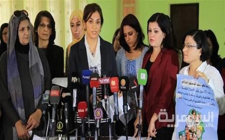 Women in Kirkuk condemn Iraq's draft family law. Photo: Alsumaria TV