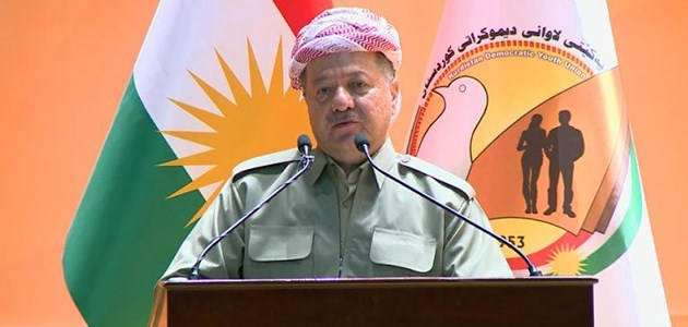 President Masoud Barzani speaking at the 8th congress of the Kurdistan Democratic Youth Union in Erbil on Tuesday during which he addressed several topics including last September's independence referendum, Iraq's May 12 parliamentary election, and the Iraqi constitution. Photo: Rudaw TV