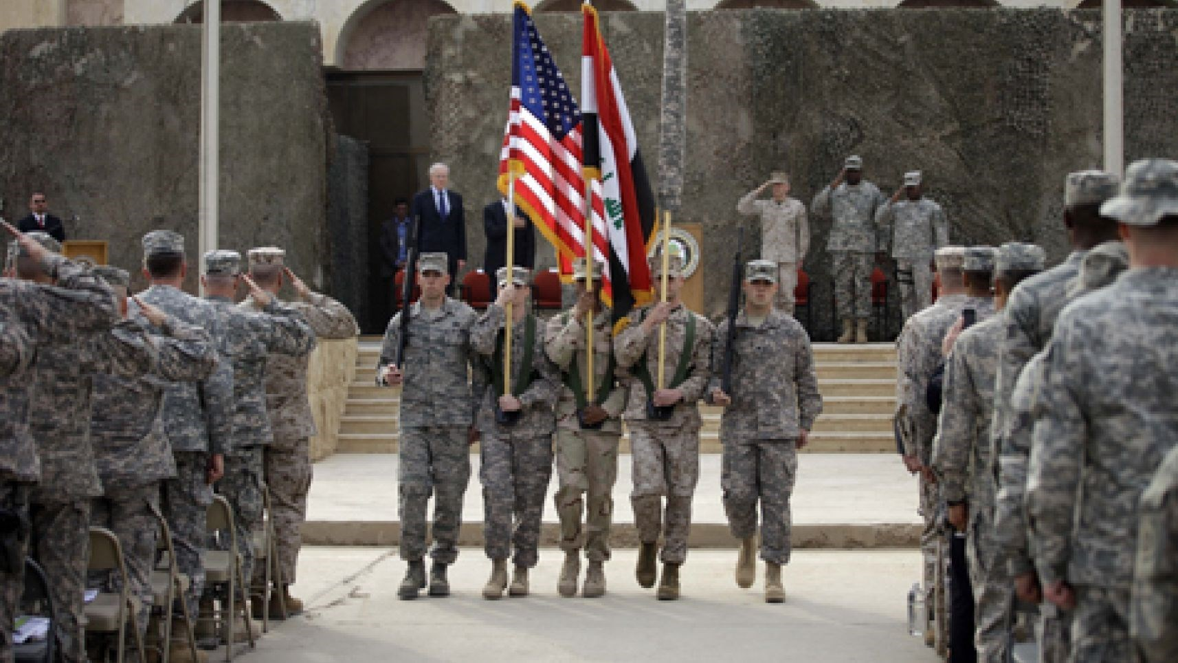 A ceremony marks the end of the US military mission in Iraq, December 15, 2011. Photo: AP