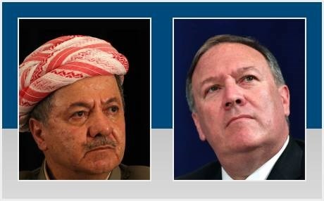 Head of the KDP, President Masoud Barzani and US Secretary of State Mike Pompeo. Composite photo: Rudaw via AFP/AP