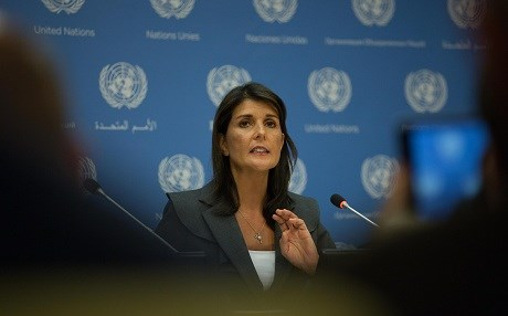 US Ambassador Nikki Haley speaks at a press conference at the United Nations on Tuesday. Photo: Kevin Hagen/Getty Images/AFP