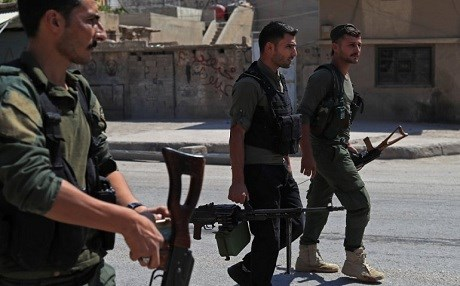 Members of the PYD's Asayesh (security) patrol in Qamishli on September 8, 2018. Photo: Delil Souleiman | AFP