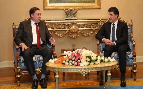 The United Kingdom's Ambassador to Iraq, Jon Wilks (left), meets with Kurdistan Regional Government Prime Minister Nechirvan Barzani in Erbil on September 13, 2018. Photo: KRG PM