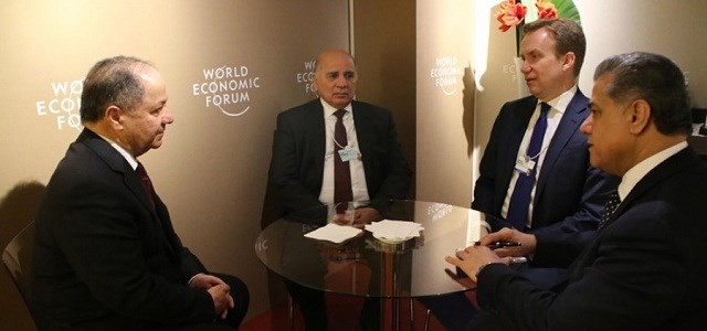 From left: KDP President Masoud Barzani, then chief of staff of the Kurdistan Region presidency Fuad Hussein, Norwegian Foreign Minister Borge Brende, and KRG head of the Department for Foreign Relations meet at the World Economic Forum in Davos, Switzerland, in January 2017. Photo: KRP