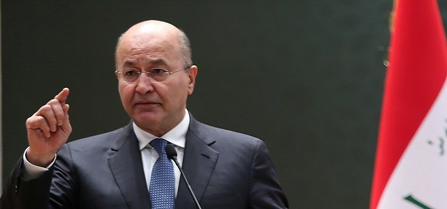 Newly elected Iraqi President Barham Salih delivers a speech in the Baghdad parliament, October 2, 2018. Photo: Iraqi parliament / HO / AFP