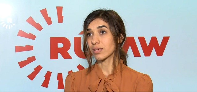 Yezidi Nobel Peace Prize winner Nadia Murad speaks to Rudaw at the National Press Club, Washington DC, October 8, 2018. Photo: Rudaw video