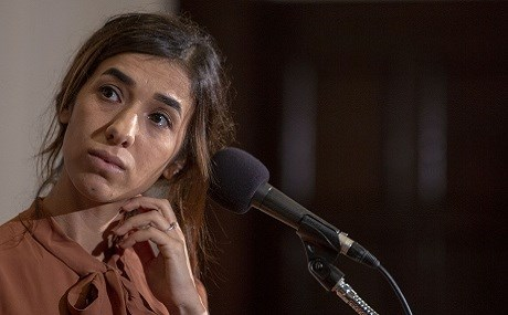 Nadia Murad takes questions at the National Press Club in Washington DC, October 8, 2018. Photo: Tasos Katopodis / AFP