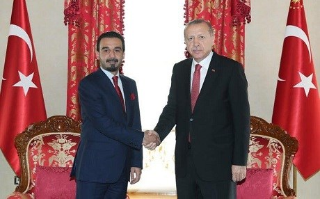 Iraqi parliament Speaker Mohammed al-Halbousi met with Turkish President Recep Tayyip Erdogan at Dolmabahce Palace in Istanbul on Wednesday. Photo: Turkish presidency
