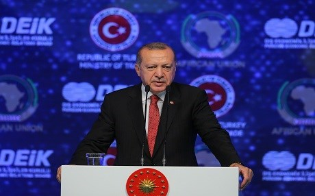 President of Turkey, Recep Tayyip Erdogan speaks during the Turkey-Africa Business and Economy Forum at Lutfi Kirdar International Convention Center in Istanbul, Turkey, on October 10, 2018.  Photo: AA