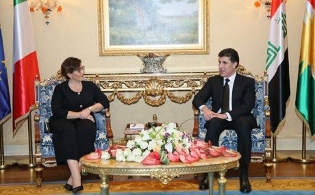 Italian Defense Minister Elisabetta Trenta (L) meets with KRG Prime Minister Nechirvan Barzani in Erbil, October 28, 2018. Photo: KRG