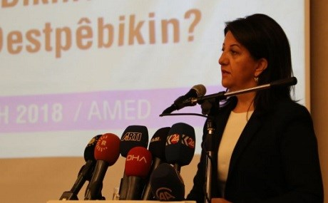 Pervin Buldan, HDP co-chair, speaks at a conference in Diyarbakir, October 27, 2018. Photo: HDP