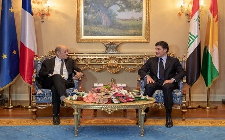 French FM Jean-Yves Le Drian meets with KRG PM Nechirvan Barzani in the Kurdistan Region capital of Erbil on January 14, 2019. Photo: KRG