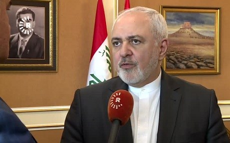 Iranian Foreign Minister Mohammad Javad Zarif speaks to Rudaw in Erbil on January 15, 2019. Photo: Rudaw