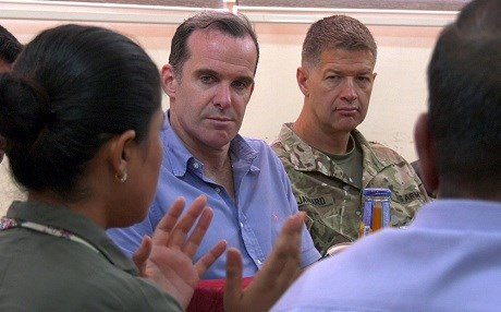 Then US SPE to the global anti-ISIS coalition Brett McGurk (center) listens to Leila Mustafa, the co-head of the Raqqa Civil Council, in Raqqa, Syria, on July 10, 2018. File photo: US Army | Sgt. Brigitte Morgan