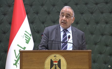 Iraqi PM Adil Abdul-Mahdi speaks to reporters at a weekly press conference in Baghdad on March 12, 2019. Photo: Iraqi PMO