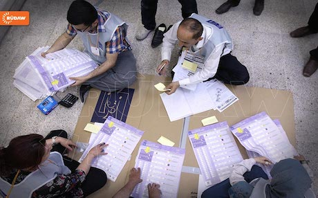 Votes are counted in Sulaimani after last Wednesday's elections. Photo: Rudaw