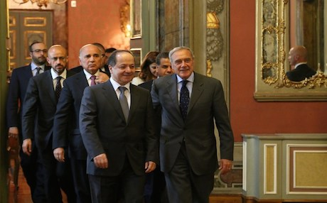 Kurdistan Region President Massoud Barzani with members and head of the Italian senate. Photo: KRP