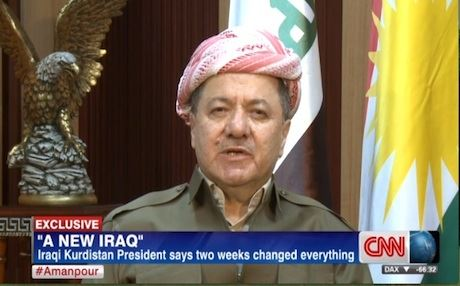 Kurdistan Region President Massoud Barzani speaking to CNN.