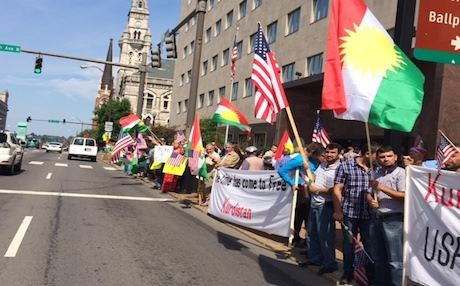 "The rally, which drew some 500 protesters carrying Kurdish flags and banners demanding a ""free Kurdistan"", follows similar protests by Kurdish emigres in Denmark and Sweden and Kurds in the autonomous Kurdistan Region of Iraq. Photo courtesy of Nawzad Hawrami"