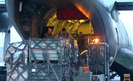 A transport plane in Germany is loaded with relief aid for Kurdistan last week. Photo: AP