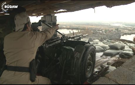 Peshmerga forces targeting Islamic state militants at Gwer frontline.