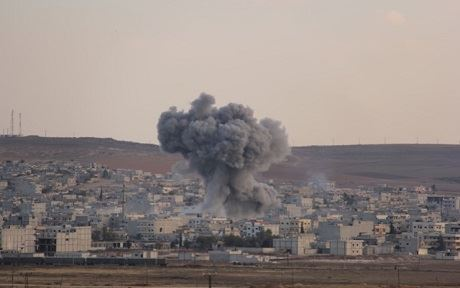 An explosion in Kobane on Wednesday.