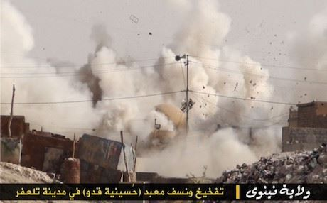 Shiite mosque blown up in Tal Afar by the Islamic State. Photo: ISIS media