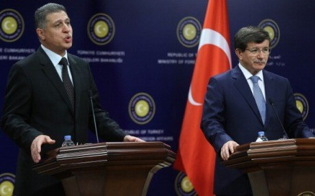 Arshad Salih (left) on a visit to Turkey in June. AFP photo.