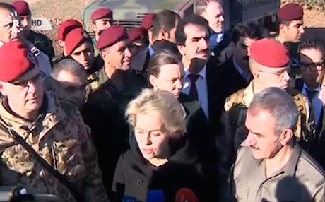 German Defense Minister Ursula von der Leyen with Kurdistan Region Peshmerga Minister Mustafa Sayid Qadir at a Peshmerga training camp outside Erbil.