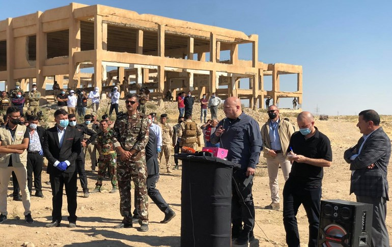 Karim Khan, head of UNITAD, speaks during a ceremony ahead of commencing exhumation of a mass grave of Yezidi victims of ISIS in Solagh, Shingal region on October 24, 2020. Photo: Fazel Hawramy/Rudaw